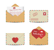 Set of Valentine's Day vintage envelopes with paper red hearts  on white background. Vector illustration Royalty Free Stock Photos