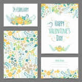 Set of valentine's flower cards Royalty Free Stock Photo