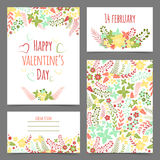 Set of valentine's flower cards Royalty Free Stock Photography