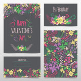 Set of valentine's flower cards Stock Photo