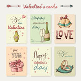 Set of Valentine's greeting cards. Vector illustration Stock Photos