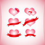 Set of Valentine's icons, design elements. Royalty Free Stock Images