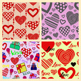 Set of Valentine's seamless patterns with hearts.  Stock Photo