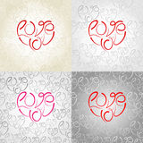 Set of valentine's seamless patterns with words Love you Royalty Free Stock Photography