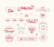 Set of valentine sale for design Stock Image