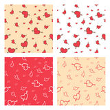 Set of Valentine seamless pattern of hearts Stock Photography