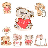 Set valentine teddy  bear. Set valentine teddy bear  with red  heart. Valentine card. Vector illustration Royalty Free Stock Images