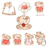 Set valentine teddy  bear Stock Images