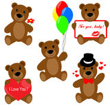 Set of Valentine teddy bears Royalty Free Stock Image