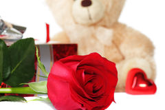 set valentiner för blommafokus Arkivfoto