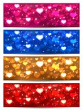 Set of Valentines cards with hearts. Set of Valentines cards with blurry hearts and stars, illustration Stock Image
