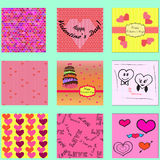 Set of valentines cards and seamless patterns with hearts. Stock Photo