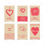 Set of valentines cards Stock Image