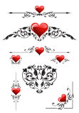 Set  for valentines day. Includes rule lines, page corners, and ornate element Stock Photography