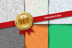 Set of Valentines Day backgrounds with doodle Stock Image