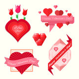Set of valentines day banners. Set of abstract valentines day heart ribbon banners flat colors Stock Photo