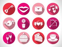Set valentines day buttons, vector signs Stock Image