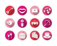 Set valentines day buttons, vector signs Stock Images