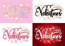 Set of Valentines day cards. Hand lettering. Romantic Inscription for Valentine`s love day greeting card vector illustration