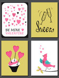 Set of Valentines Day Cards Royalty Free Stock Photos