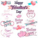 Set of  Valentines Day Decorative Elements. Set of  Valentines Day Decorative Illustrations and Typography Elements Stock Photo