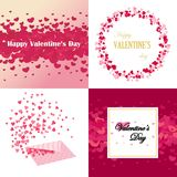 Set of Valentines Day design cards, backgrounds and banners. For paper, textile, postcards, wedding Royalty Free Stock Images