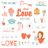 Set of Valentines day design holidays elements Royalty Free Stock Photography