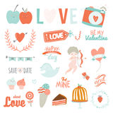Set of Valentines day design holidays elements Stock Image