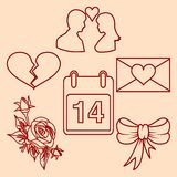 Set valentines day design line elements. Royalty Free Stock Image