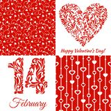 Set for Valentines Day: The figures 14 and heart from a floral ornament, seamless pattern with hearts on a red background. Suitable for greeting card, banner royalty free illustration