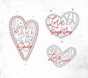 Valentines day flat hearts grey royalty free illustration