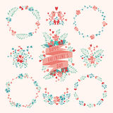 Set of Valentines Day floral elements. Love concept. Vector illustration Royalty Free Stock Image