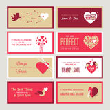Set of Valentines day greeting card templates Royalty Free Stock Image