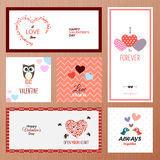 Set of Valentines day greeting card templates Stock Photography