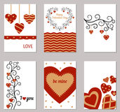Set of Valentines day greeting cards. Royalty Free Stock Photos