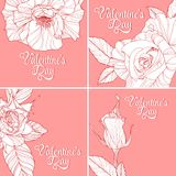 Set of valentines day greeting cards Stock Images