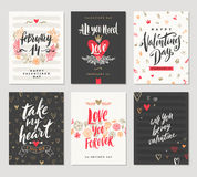 Set of Valentines Day greetings Stock Photos
