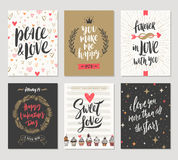 Set of Valentines Day greetings Royalty Free Stock Image