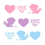 Set Valentines day. Heart, Cupid, and text. Cute Angel silhouette Stock Images
