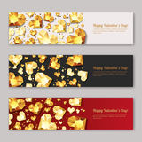 Set of Valentines day  horizontal banners with 3d gold heart diamonds, gems, jewels. Holiday golden background. Design for poster, flyer, party invitation, web Stock Images