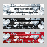Set of Valentines day  horizontal banners with 3d silver heart diamonds, gems, jewels. Royalty Free Stock Photo
