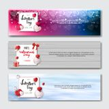 Set Of Valentines Day Horizontal Banners Holiday Shopping Discounts Posters Collection. Vector Illustration Stock Images