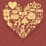 Set valentines day icons compiled in shape of heart on patterned background. Stock Photo