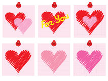 Set of Valentines Day notes. With scribbled heart Stock Photography