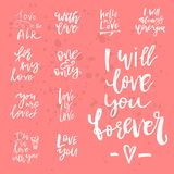 Set of Valentines day romantic handwritten quotes and slogans. G. Ood for save the date, wedding stationary, typography poster or apparel, for greetings. Vector Royalty Free Stock Photography