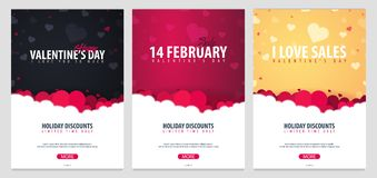 Set of Valentines day sale posters and backgrounds. Wallpaper, flyers, invitation, posters, brochure, voucher, banners. Vector ill. Set of Valentines day sale Stock Image