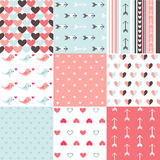 Set of  Valentines day seamless pattern Royalty Free Stock Photos