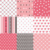 Set of  Valentines day seamless pattern Royalty Free Stock Images