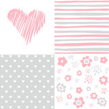 Set of  Valentines day seamless pattern Stock Image