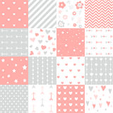 Set of  Valentines day seamless pattern Royalty Free Stock Image